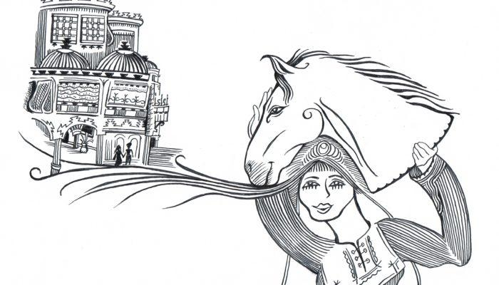Till vänster på bilden ett stort hus där två människor står framför, till höger i bild en hästs huvud vars man når ända fram till huset på andra sidan och lägger som ett golv under huset och människorna. Hästens huvud bärs upp av en kvinna som ler.