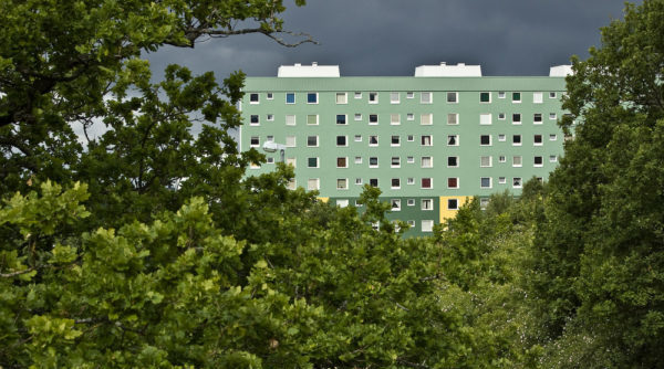 Att minnas migrationenn - Bild av grönt höghus i grönska