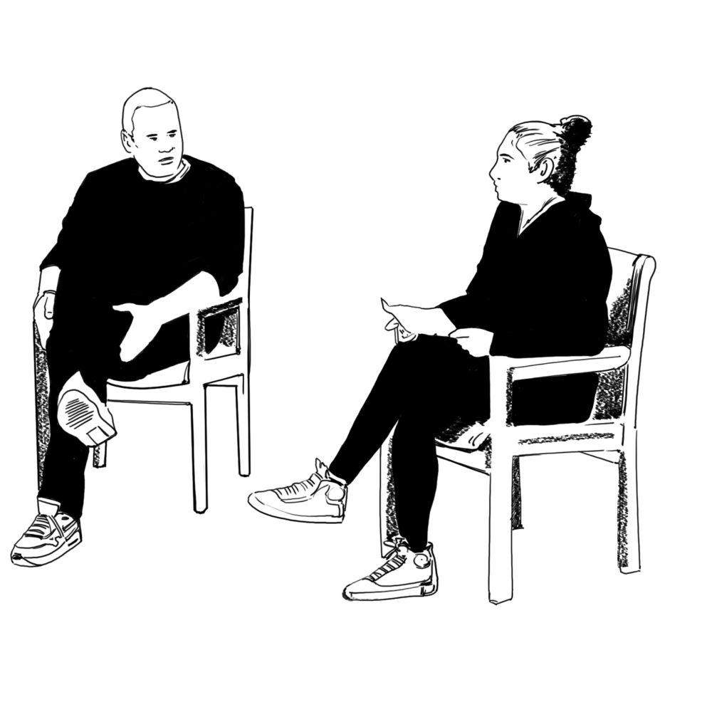 Illustration av två samtalande personer av Mikael Nyström